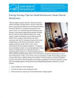 First page of Energy Savings Tips for Small Businesses: Home‐Based Businesses.