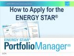 First slide of the How to Apply for the ENERGY STAR presentation.