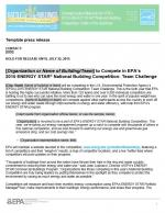 First page of the 2015 National Building Competition press release template.