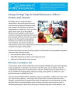First page of Energy Savings Tips for Small Businesses: Offices— Owners and Tenants.