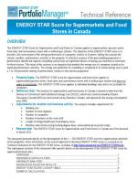 This is a screenshot of the technical documentation for ENERGY STAR score for supermarkets and grocery stores in Canada.