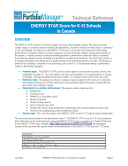 This is a screenshot of the first page of the technical documentation for the ENERGY STAR Score for K-12 Schools in Canada.