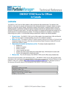 This is a screenshot of the first page of the technical documentation for ENERGY STAR score for offices in Canada.