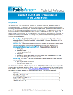 "Screenshot of the first page of the technical guidance, ""ENERGY STAR score for warehouses"""