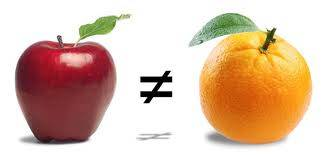 Apples and oranges aren't the same.