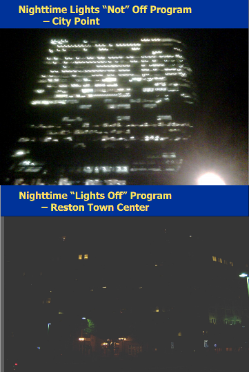 Comparison between building lights as shown from the exterior, before and during the competition.