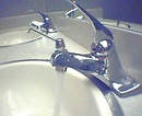sink with faucet running